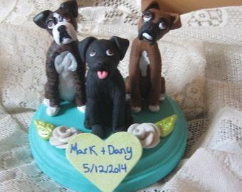 Custom Made 3 Dog  Wedding Cake Toppers /Boxers/ Labrador/ Rustic Wedding/  Custom/personalized
