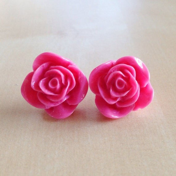 50% OFF: Pink Rose Earrings - Silver Plated Stud Posts, 22mm Resin Roses, Hot Pink, Candy Shade, Vibrant, Bright, Bridesmaid Jewelry, Spring