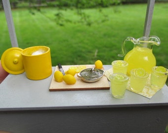 "Dollhouse Miniature - 1"" Scale or 1:12 - Handmade Decorated Lemonade Stand -"