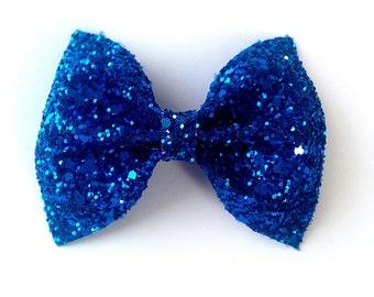 Mini Royal Blue Glitter Bow / Blue Glitter Bow / Glitter Fabric Bow / Headband / Sparkly Hair Clip / Bow Hair Clip