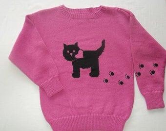 Kitty Cat Sweater, Custom Design, Handmade