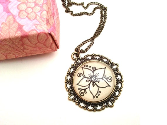 White Orchid Necklace Hand Drawn Henna Mehndi By EternalGirl