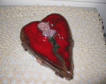 "HANDMADE HEART BOX Vintage made of Clay 6"" x 7"""