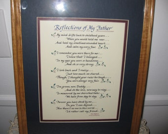 """REFLECTIONS Of MY FATHER-Calligraphy By Laura Leiden Oak Frame 12"""" x 15"""" Framed Verse"""