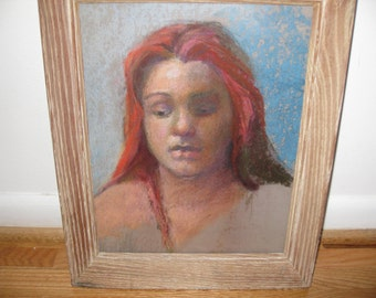 "PASTEL DRAWING-Red Head In Antique Oak Frame 13 1/4"" x 16"""