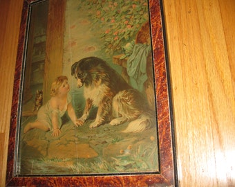 """1879 CAN'T YOU TALK Print (Chromolithograph) In Original Frame 12"""" x 15 1/2"""" With Wood Back"""