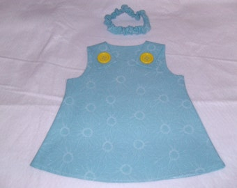 ON SALE***Baby Girl Dress/Headband Set, Newborn-12 Months in Teal Blue/White Flowers  w/Yellow Accent Buttons