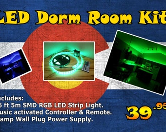 LED Strip Light Dorm Kit - Music Controlled and Sound Operated