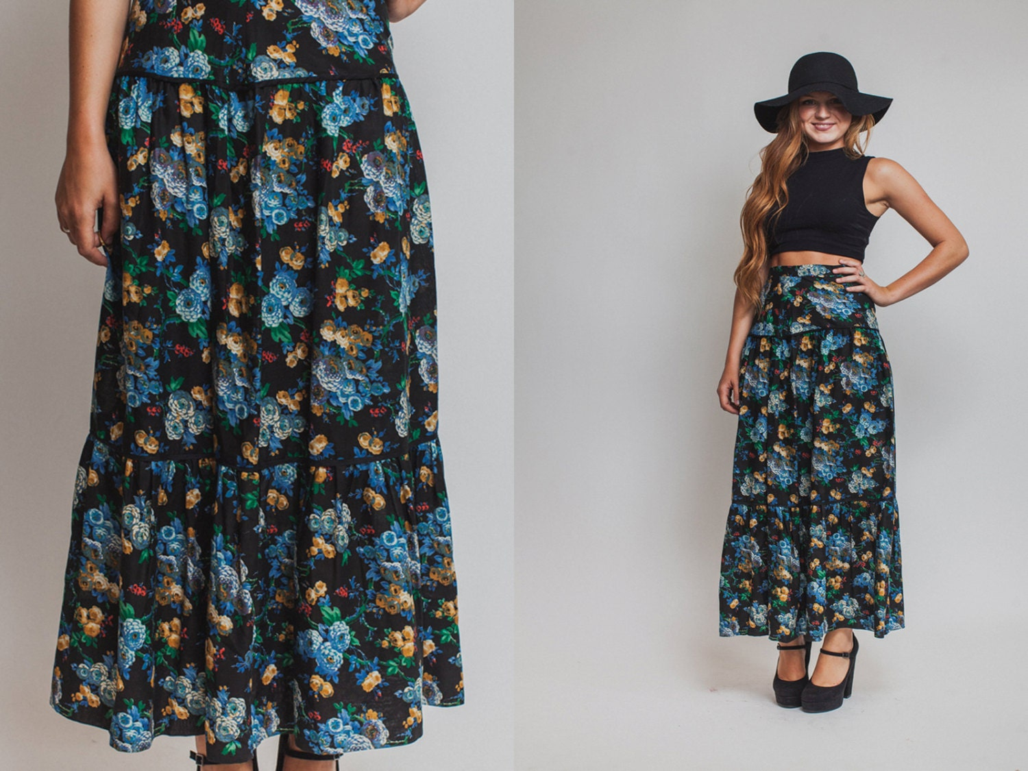 floral skirt vintage 70s 80s maxi high waisted boho by
