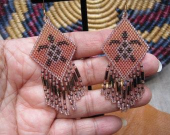 Native American Style Beaded Turtle Earrings, Brown & Tan, beaded turtle