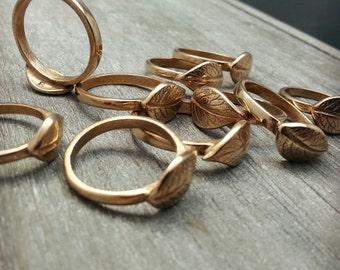 Bronze ring, Potato leaf, Leaf ring, Golden ring, Nature, Rustique, Forest