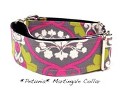 Martingale Dog Collar, Dog Collar, Adjustable Dog Collar, Custom Dog Collar, Floral, Girly, Pink, Grey, Petunia