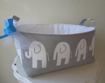 Large Fabric Bin - Diaper Caddy - Organization - Nursery - Elephant