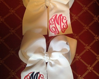 Monogrammed large hair bow