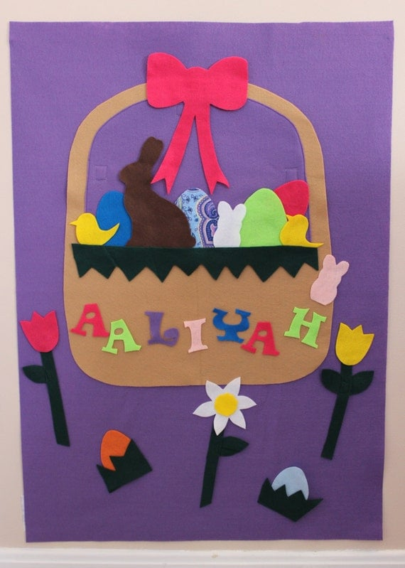 Wall-Sized Felt Board, Easter Basket, Decorate your own, Personalized