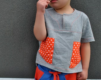 PDF sewing pattern The Kieran Shirt  downloadable boys shirt sewing pattern childrens sewing pattern size 2 to 12 years. Easy to sew pattern