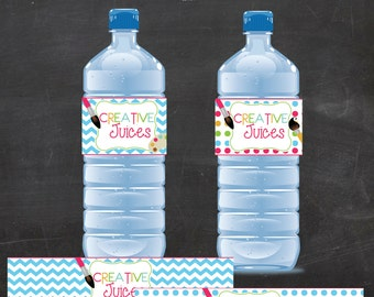 Printable Creative Juices/Art Water Bottle Wrappers - TWO OPTIONS Chevron and Polka Dots (instant download)
