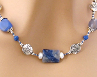 Sodalite Royal Blue Necklace, Stone Jewelry with Agate, Sodalite, Pearl and Pewter, Denim Blue Sodalite Necklace