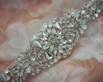 rhinestone bridal applique, crystal applique for wedding sash, beaded belt, bridal belt