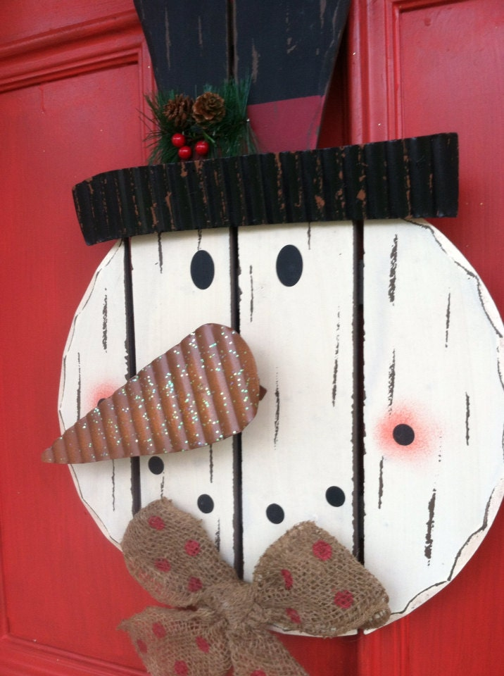 Snowman door decor wooden snowman wreath by for 3d snowman door decoration