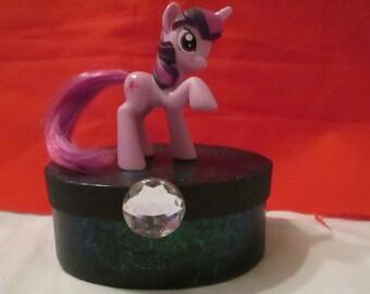My little  pony box Twilight sparkle handmade personalized name pinkie pie rarity fluttershy rainbow dash applejack derpy