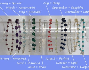 Stackable Birthstone Bracelets - Mix and Match