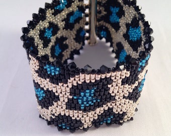 Blue and silver animal print cuff