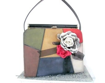 Vintage Color Block Purse, 1960's Naturalizer Color Block Leather, Suede Purse, Mod Color Block Handbag, 1960's Mod Purse
