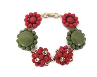 Upcycled Bracelet, Vintage Clip On Earring Bracelet, Beaded Bracelet, Red, Green Bracelet, Christmas Bracelet, Holiday Jewelry