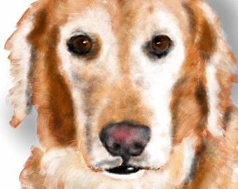 Custom Dog Portrait, custom portrait, pet portrait, dog art, dog lover, pet memorial, dog memorial, golden retriever, dog, art print,