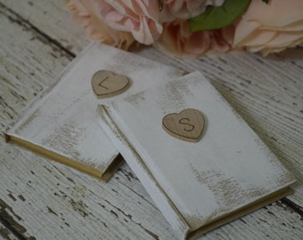 shabby chic wedding vow books,  rustic vows books, country wedding,  set of 2