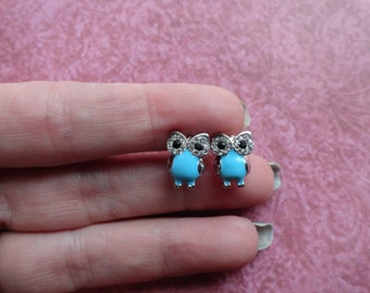 Owl turquoise crystal  stud earrings