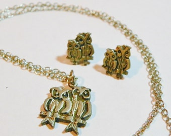 Vintage AJRCO Silver/Pewter Owl Necklace & Earrings Set