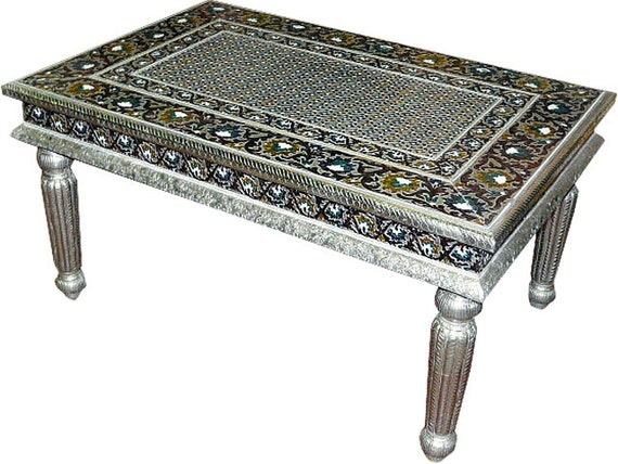 Antique udaipur white metal meenakari hand crafted indian for Indian coffee table