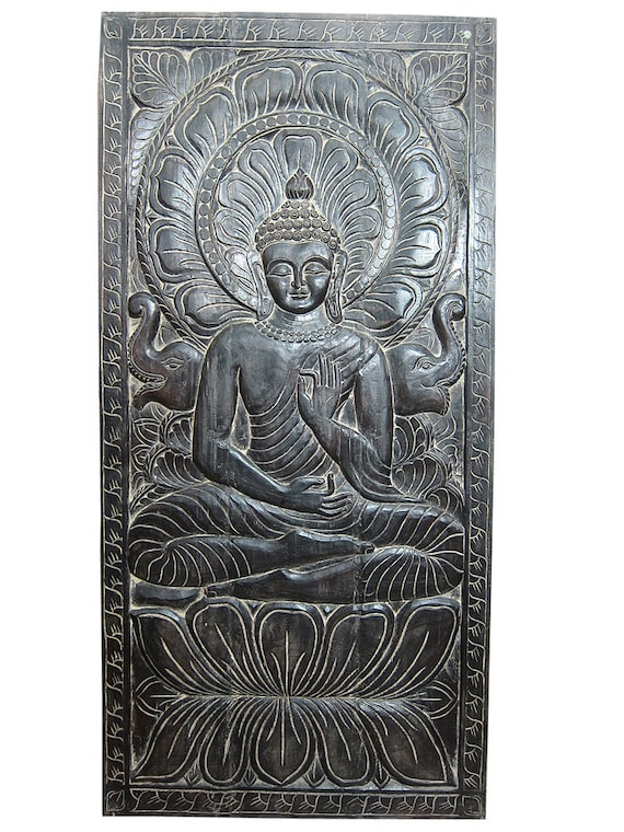 Hand carved wood buddha wall decor budha in by mogulgallery