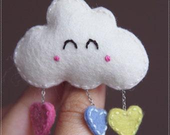 Cute happy cloud brooch width colorful hearts