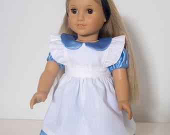 American Girl Doll  Alice in Wonderland  Dress for 18 inch Doll
