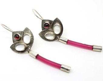 Red leaf silver earrings with Crystal and Garnet  .