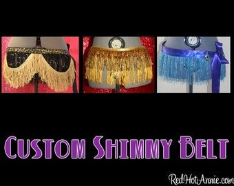Custom Personalized Burlesque Shimmy Belt - Color Combination - You Pick Size & Up to 3 Fringe Colors