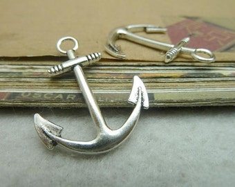 30pcs 25x31mm Antique Silver Lovely Anchor Charm Pendant C7049