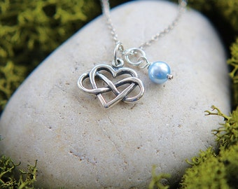 Infinity Necklace, Sterling Silver Infinity Necklace, Infinity Love, Infinity Heart Necklace, Valentines Day Gift for Her, Personalized gift