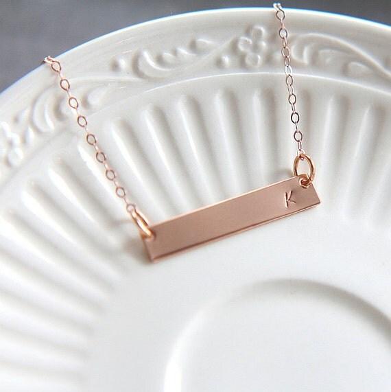 Nexus 20 Triple Bar Pendant: Rose Gold Bar Necklace, Personalized Bar Necklace, Rose