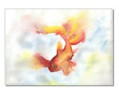 gold fish original watercolor painting size A4