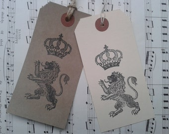 5 large hand stamped royal lion gift tags
