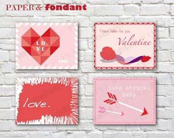 INSTANT DOWNLOAD - PRINTABLE Blush Valentine's Day cards