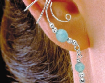 Aquamarine Ear Cuff Dangles on Sterling Silver     #3XD-AQB