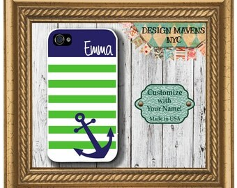 Preppy Anchor Stripe iPhone Case, Nautical iPhone Case, Monogram iPhone Case, iPhone 5, 5s, 5c, iPhone 6, 6s, 6 Plus, SE, iPhone 7, 7 Plus