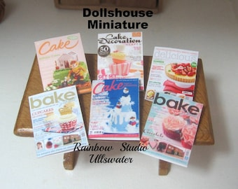 dollhouse cake  magazines x 6 for display bakery shop cooking dollhouse miniature  lakeland artist