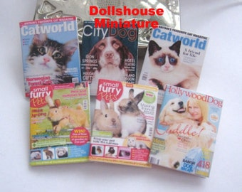 dollhouse pet magazines x 6 cats dogs rabbits 12th scale miniature lakeland artist new