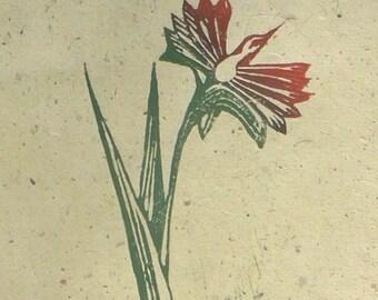 Phoenix Lily linocut print